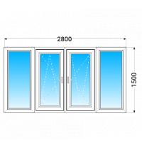 Лоджія OPEN TECK Standard 60 з двокамерним енергозберігаючим склопакетом 2800x1500 мм