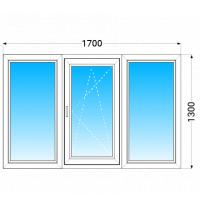 Вікно з трьох частин WDS 400 з однокамерним енергозберігаючим склопакетом 1700x1300 мм
