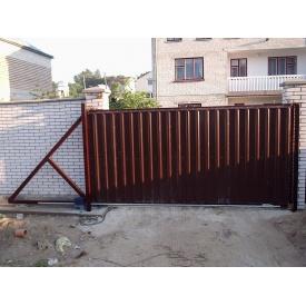 Ворота откатные с профнастилом 1,8х4 м