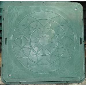 Люк каналізаційний квадратний А15 710х710 мм зелений