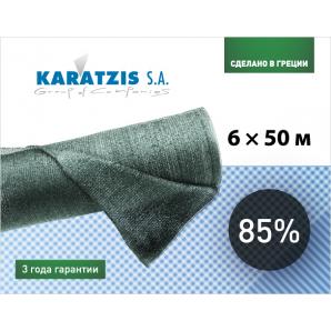 Полімерна сітка Karatzis для затінення 85% 6х50 м зелена