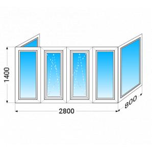 Балкон п-подібний Salamander 2D з двокамерним енергозберігаючим склопакетом 1400x2800x800 мм