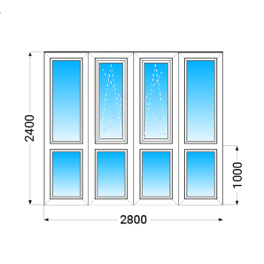 Французький балкон Lider 58 з однокамерним енергозберігаючим склопакетом 2400x2800 мм