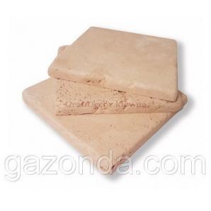 Плитка з натурального каменю травертин білий зістарений 1х10х10 см світло-бежева