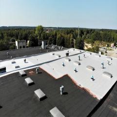 Гідроізоляція плоского даху безшовною поліуретановою мастикою Київ