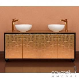 Підлогова Тумба для ванної кімнати 1200 без раковини Marsan Penelope чорний фасад античне золото