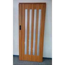 Двері гармошка засклена 860х2030х12 мм Вишня 501 дзеркало Build System