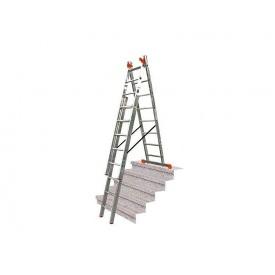 Многоцелевая лестница с перекладинами для лестничных маршей KRAUSE Monto Tribilo 3x10 ступеней