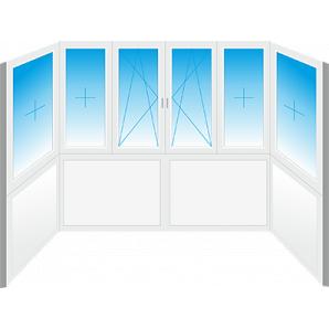 Французьке скління П-образного балкона Konkord Classic