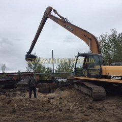 Аренда длиннорукого гусеничного экскаватора CASE CX210 LONG REACH 17 м 0,7 м3 Киев
