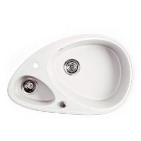 Кухонна мийка METALAC X GRANIT ELIPSE білий сифон