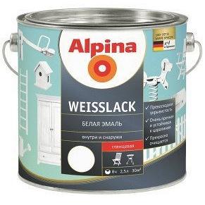 Эмаль алкидная белая Alpina Weisslack GL 0,75 л