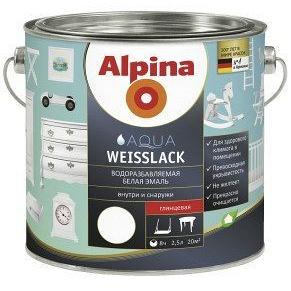 Эмаль акриловая Alpina Aqua Weisslack глянцевая 2,5 л