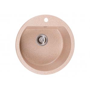 Мойка искусственный камень Solid РАУНД D510 розовый песок (с отверстием под смеситель)