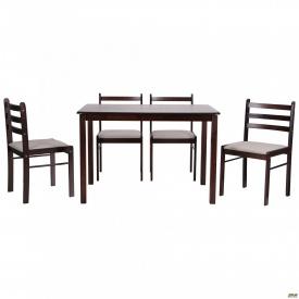 Комплект обідній Брауні стіл+4 стільця темний шоколад/латте