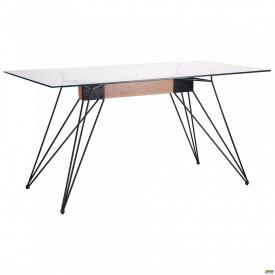 Стол обеденный Каттани черный/стекло прозрачное