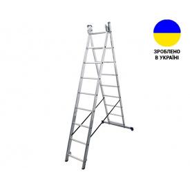 Двухсекционные лестницы Алюминиевая двухсекционная лестница 2x9 ступеней DUOMAX VIRASTAR