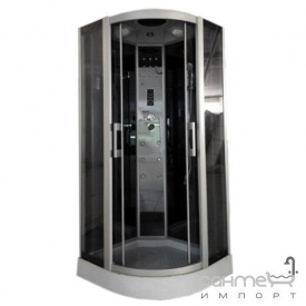 Гидромассажный бокс Atlantis Fashion AKL-100P-T профиль сатин задние стенки черные двери тонированные графит