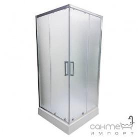 Квадратна душова кабіна з дрібним піддоном Veronis KNS-100 профіль хром матове скло