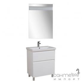 Тумба Аква Родос Еліт підлогова 60 см + дзеркало Еліт + раковина Elite ОР0002763 білий