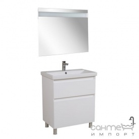 Тумба Аква Родос Еліт підлогова 80 см + дзеркало Еліт + раковина Elite ОР0002767 білий