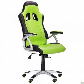 Компьютерное кресло АМФ Форсаж №6 черный-зеленый для игры-геймеров