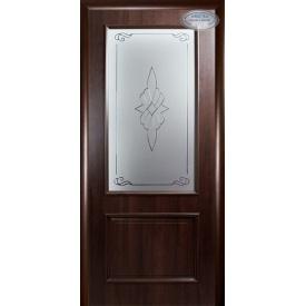 Двери межкомнатные Вилла Новый Стиль каштан делюкс со стеклом Р1