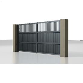 Автоматические распашные ворота Alutech Prestige с приводом Ambo сэндвич-панель S-гофр разреженный профиль серый антрацит (RAL 7016)