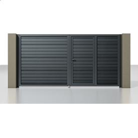 Розпашні ворота Alutech Prestige сендвіч-панель S-гофр сірий антрацит (RAL 7016) з хвірткою
