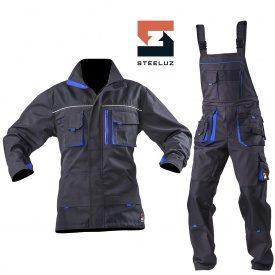 Костюм рабочий SteelUZ куртка+полукомбинезон с синей отделкой