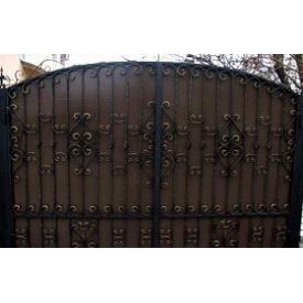 Ворота распашные металлические 2х4 м с элементами ковки