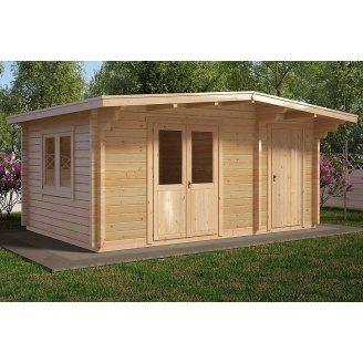 Альтанка дерев'яна з профільованого бруса з закритою кімнатою 5х3