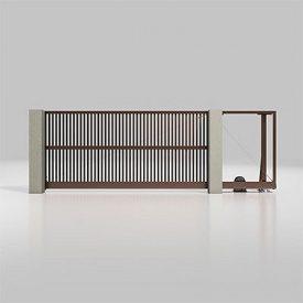 Автоматические откатные ворота Alutech Prestige с приводом Roteo разреженный профиль шоколад (RAL 8017)