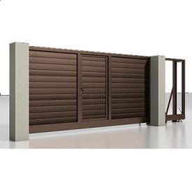 Откатные ворота Alutech Prestige с приводом Roteo сэндвич-панель S-гофр шоколад (RAL8017) с калиткой