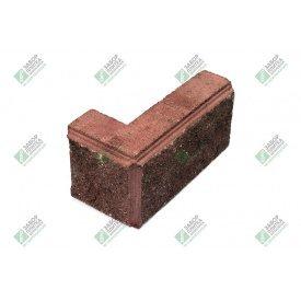 Блок кутовий колотий з фаскою 390х190х90х188 мм червоний