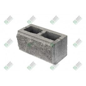Блок стандарт колотый с фаской 390х190х188 мм серый
