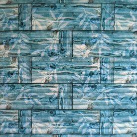 Самоклеющаяся декоративная 3D панель бамбуковая кладка бирюза 700x700x8 мм