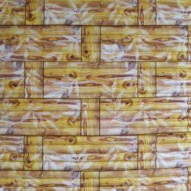 Самоклеющаяся декоративная 3D панель бамбуковая кладка желтая 700x700x8 мм