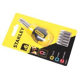 Отвертка Stanley Multibit Stubby с 6 сменными битами