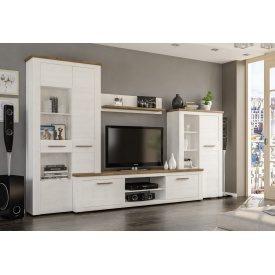 Стенка Мебель-Сервис Монтреал 3150х450х2000 мм белая лдсп