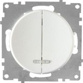 Выключатель OneKeyElectro Florence двойной с подсветкой белый 1E31801300