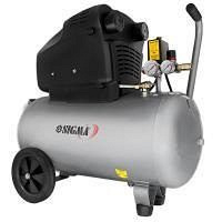 Компрессор двухцилиндровый безмасляный 2.2 кВт 365 л/мин 8 бар 50 л 2 крана Sigma (7042311)