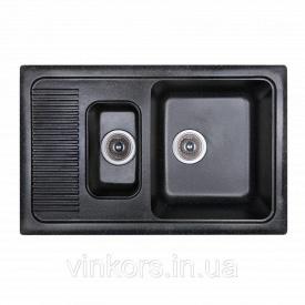 Мойка Fosto двойная 77x49 SGA-420 черный (14746)