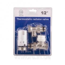 """Комплект кранів з термоголовкою радіаторний прямий Sandi Plus 1/2"""" SD353W15"""