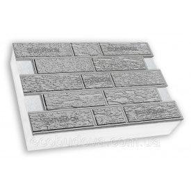 Фасадная термопанель SunRock Кирпич короед 25 кг/м3 Ровный рез 100 мм пенополистирол 600х400 мм серый