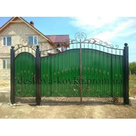 Ворота кованые с профнастилом Z-0119