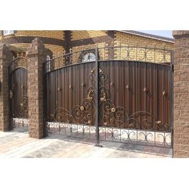 Ворота с профнастилом и коваными элементами Z-017