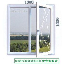 Окно из 7-камерного профиля WDS Ultra7 1300x1400 мм с двухкамерным энергосберегающим стеклопакетом 40 мм