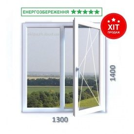 Окно из 7-камерного профиля WDS Ultra7 1300x1400 мм с двухкамерным энергосберегающим стеклопакетом