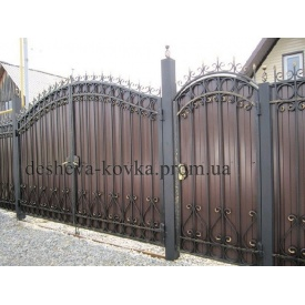 Распашные ворота с калиткой и профнастилом Код D-0105 Дешевая ковка